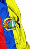 stock photo of guayaquil  - Ecuadorian waving flag on white background - JPG