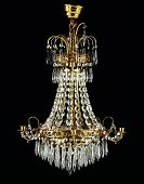 foto of chandelier  - Contemporary glass chandelier isolated over black background - JPG