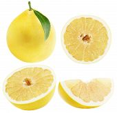 stock photo of pomelo  - set of Pomelo or Chinese grapefruits isolated on the white background - JPG