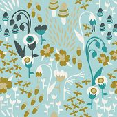 picture of acorn  - A seamless floral woodland pattern in earthy tones with mushrooms - JPG