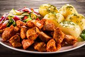 pic of boil  - Grilled meat with boiled potatoes and vegetables - JPG