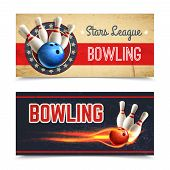 picture of bowling ball  - Bowling horizontal banner set with game pins and ball in fire isolated vector illustration - JPG