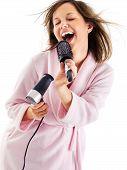 picture of singing  - Woman singing with hairbrush isolated on white background - JPG