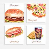 foto of hamburger  - Watercolor fastfood cards set with sandwich pizza hamburger and soda drink isolated vector illustration - JPG