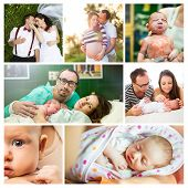 stock photo of baby delivery  - Composition of life of a young couple and arrival of their baby girl - JPG