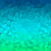 stock photo of jade blue  - Abstract bright blue and green motley colored polygonal triangular background for use in design for card invitation poster banner placard or billboard cover - JPG