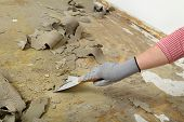 image of putty  - Worker removes glue and rubber with putty knife from floor - JPG