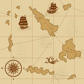 stock photo of kraken  - seamless old map with a compass and ships in yellow - JPG