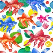 pic of fish  - Seamless pattern watercolor colorful fish and drops. 