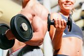 pic of weight-lifting  - Couple exercising with dumbbells in a gym - JPG