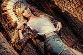 image of indian chief  - Attractive modern girl in style of the American Indians - JPG