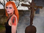 picture of walking dead  - Dead woman in the old cemetery  - JPG