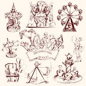 pic of carnival ride  - Amusement park carnival attractions sketch decorative icons set isolated vector illustration - JPG