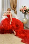 image of evening gown  - A woman dressed in a red evening gown with a long train sits in a chair against a light background - JPG