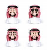 foto of arab man  - Set of 3D Dimension Saudi Arab Man in Different Professional and Business Man Characters and Avatars in traditional Cloths or Thobe Isolated in WHite Background - JPG