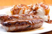 picture of traditional  - sausage bangers and mashed potatoes a traditional british pub food - JPG