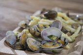 pic of clam  - pasta with veraci clams and fried zucchini