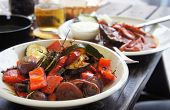picture of brinjal  - Grilled vegetables with spices on the summer terrace