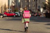 stock photo of little school girl  - little  girl with a backpack going to school - JPG