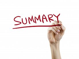 stock photo of summary  - summary word written by hand on a transparent board - JPG