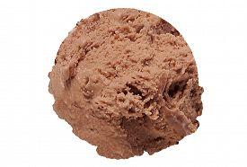 picture of ijs  - Scoop of praline ice cream on white background - JPG