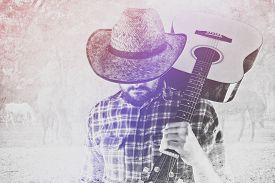 image of wrangler  - Bearded Cowboy Farmer with Acoustic Blues Guitar and Straw Hat on Western American Horse Ranch Double Exposure Image - JPG