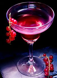 pic of cocktail menu  - Pomegranate cocktail decoration red currant  branch  on black background - JPG