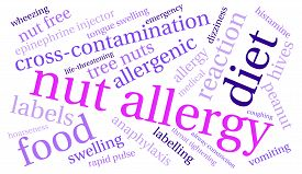 picture of anaphylaxis  - Nut allergy word cloud on a white background - JPG