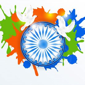 stock photo of indian flag  - illustration for National Flag Colors on gray background for 15th of August Indian Independence Day - JPG