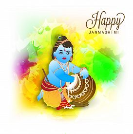 picture of dharma  - illustration of a Baby Krishna for Happy Janmashtmi - JPG