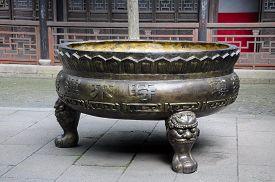 pic of tong  - A large traditional chinese urn at the Tongli Pearl Pagoda in Tongli Water Town in Jiangsu province of China - JPG