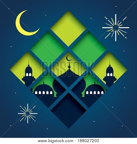 poster of selamat hari raya aidilfitri vector illustration with traditional malay mosque