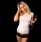 Beautiful Woman Listening To Digital Music