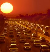 Traffic jam in Los Angeles at sunset