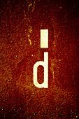 Rusty letter d