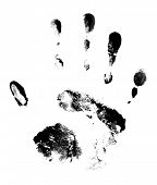Black handprint on white background