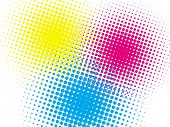 Cmyk halftone texture on white