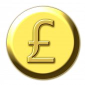Golden british pound symbol