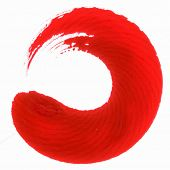 Red japanese calligraphic round brush stroke