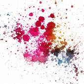 Color splatter on white background