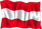 Waving Flag von Österreich, isolated on white