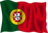 Waving Flag von Portugal, isolated on white