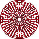 Red round labyrinth