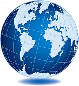 Simplified world globe isolated on white background