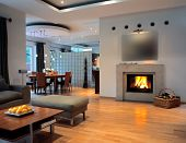 stock photo of guest-house  - open space with fire place - JPG