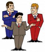 tres empresarios aislados en blanco sobre un problema