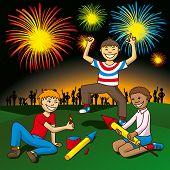 kids with fireworks on the hill celebrate independence day