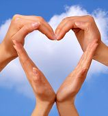 image of hand heart  - Female hands showing heart sign love concept - JPG
