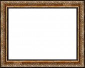 Antique wooden grungy background photo frame with gilded pattern isolated border