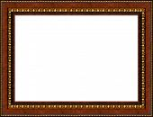 Antique wooden grungy background photo frame with golden pattern isolated border